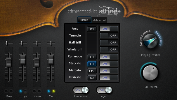 Cinematic Strings' Main Interface